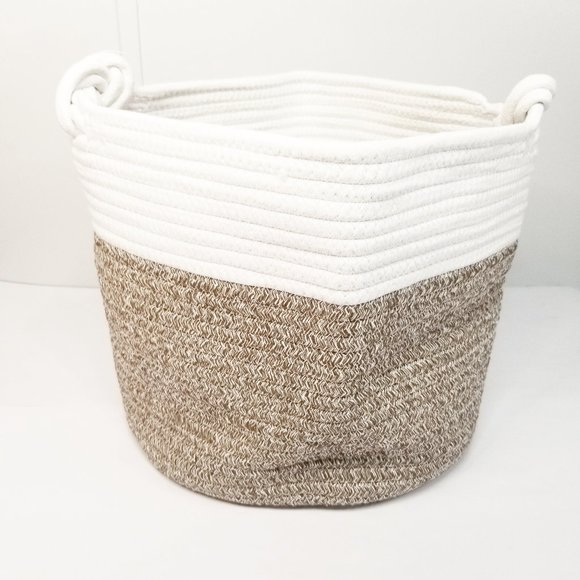 Cotton Rope Basket Knots Handle, White and Jute